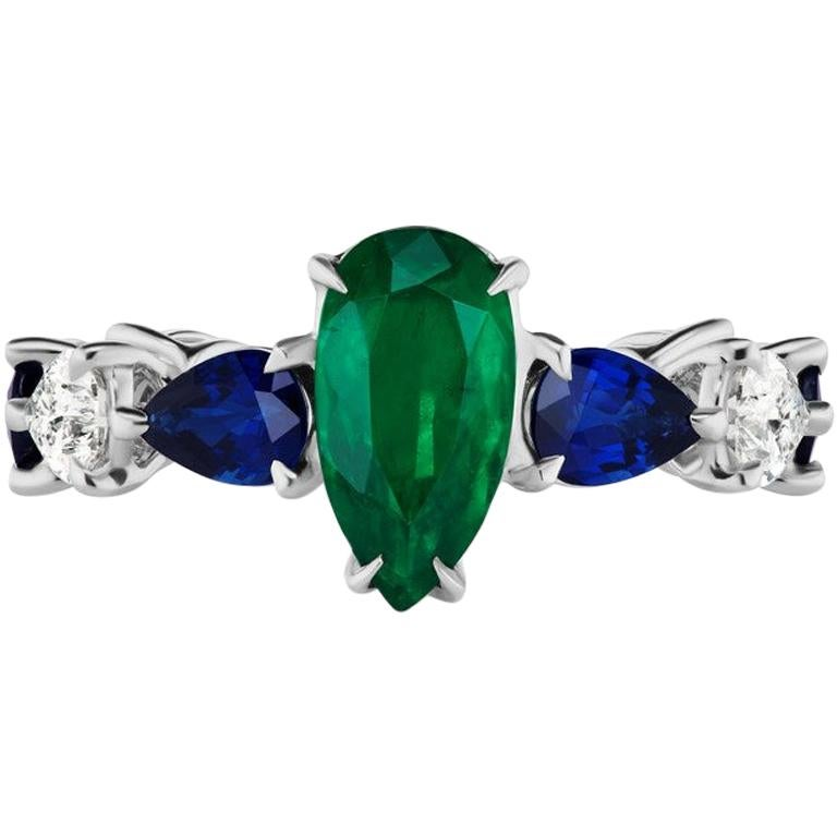 Emerald Sapphire and Pear Shaped Diamond Ring For Sale