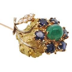 Emerald Sapphire Diamond 18 Karat Gold Stick Pin