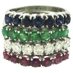 Emerald, Sapphire, Diamond, Ruby Stackable 4-Piece Ring Set