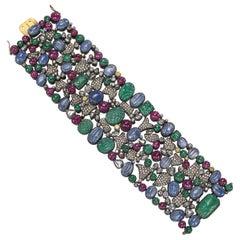 Emerald, Sapphire, Ruby and Diamond Wide Bracelet
