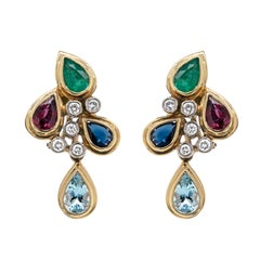 Emerald, Sapphire, Ruby, Aquamarine and Diamond 18ct Gold Cluster Earrings