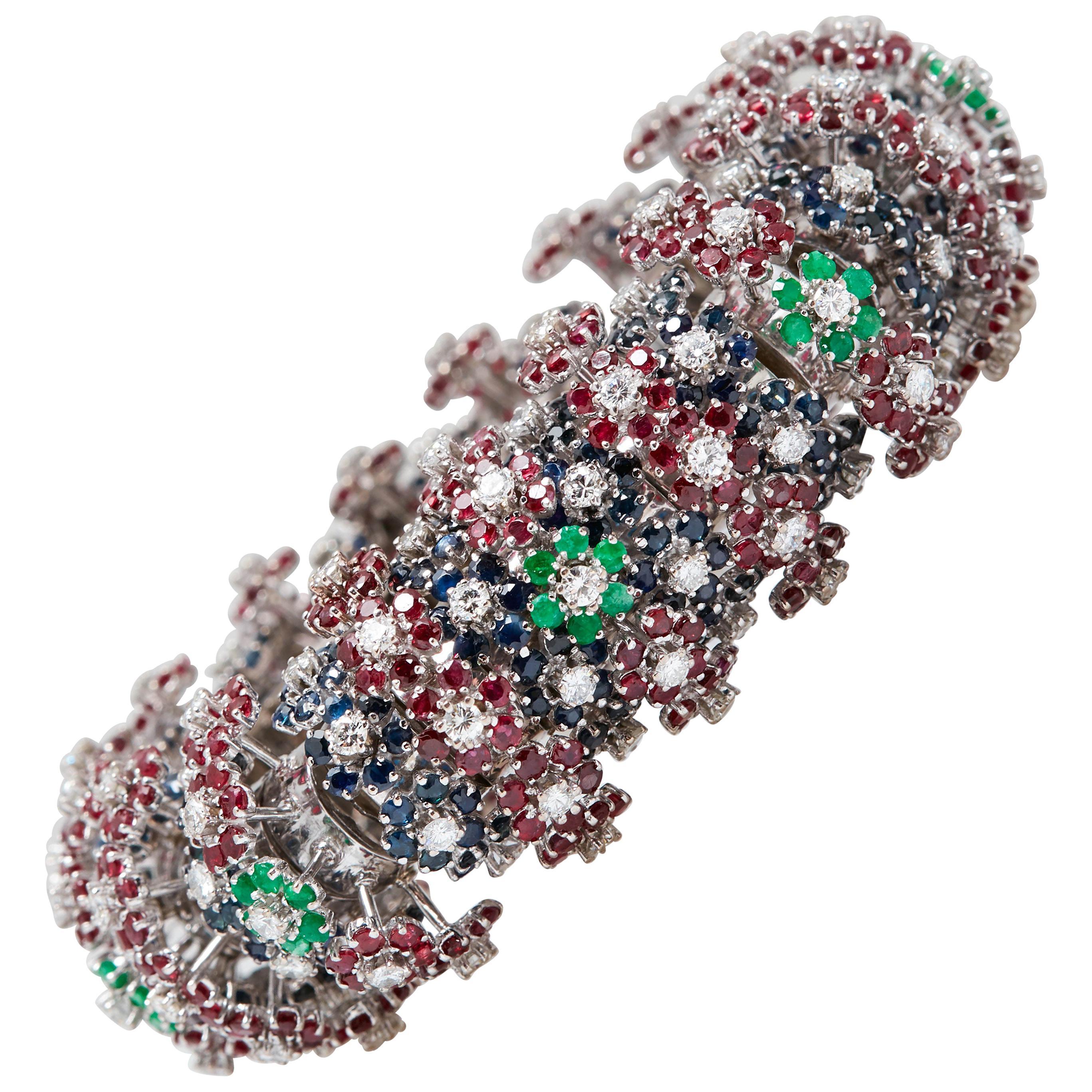 Emerald Sapphire Ruby Diamond Bracelet