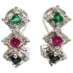 Emerald, Sapphire, Ruby Diamonds Half Hoop Clip-On 14 Karat Gold Earrings