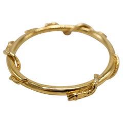Emerald Sapphire Ruby Snake Bangle Gold Tone Brass J Dauphin