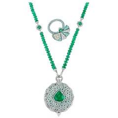 Emerald Secret Fan Necklace and Ring Set, 112.27 Carat