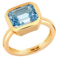 Emerald Shape Aquamarine Bezel Raised Dome Yellow Gold Cocktail Ring