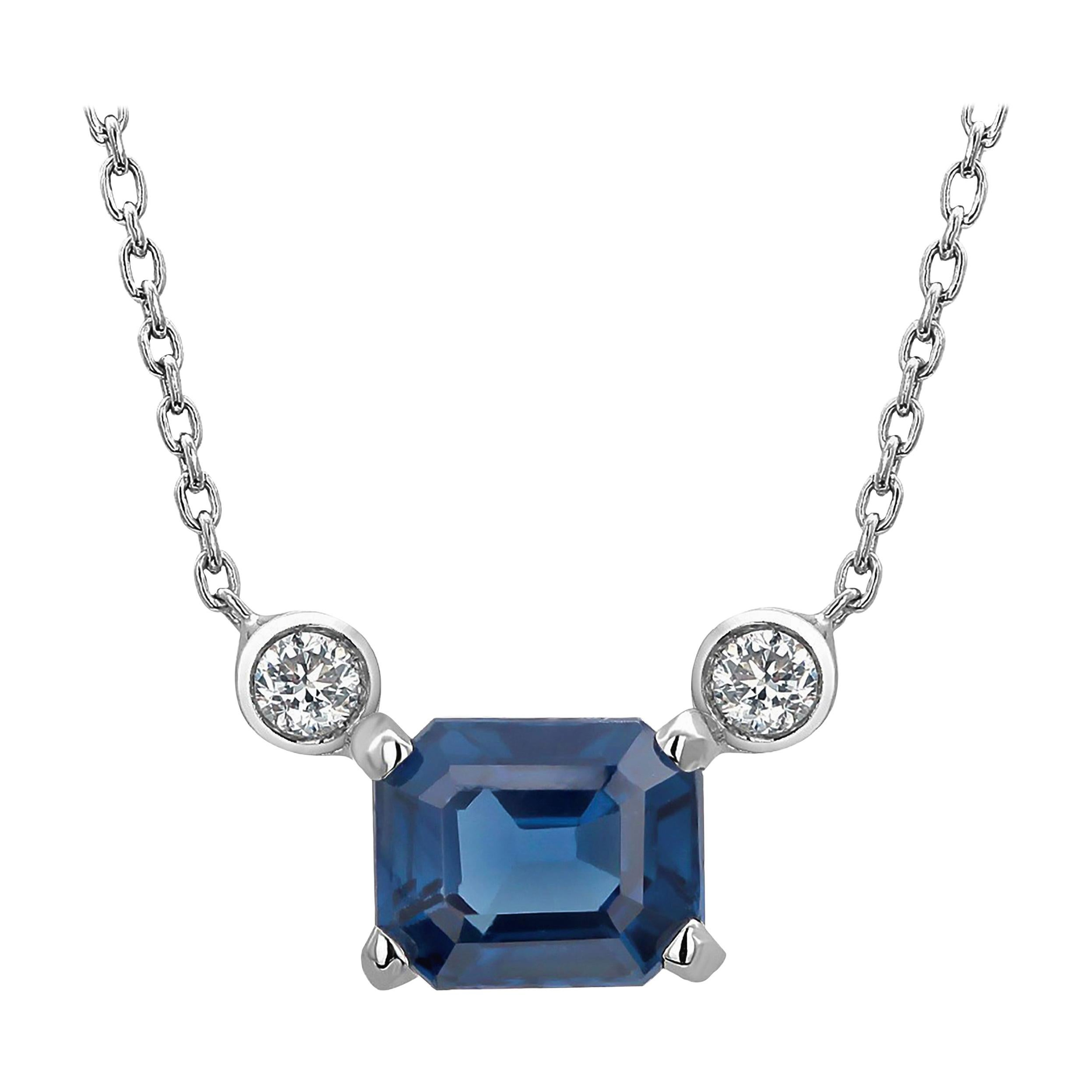 Emerald Shape Blue Sapphire and Two Diamonds Drop Gold Pendant Necklace