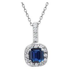 Emerald Shape Blue Sapphire Halo Diamond Drop Gold Pendant Necklace