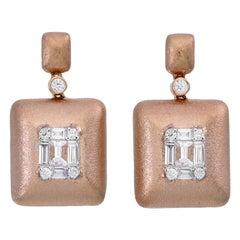 Emerald Shape Illusion Diamond Dangle Earring in 18 Karat Rose Gold
