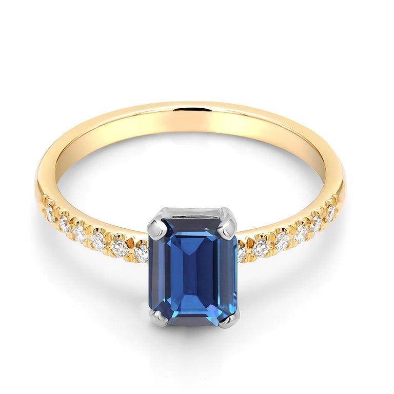 Emerald Cut Emerald Shape Sapphire Diamond 18 Karat Yellow Gold Cocktail Gold Ring For Sale