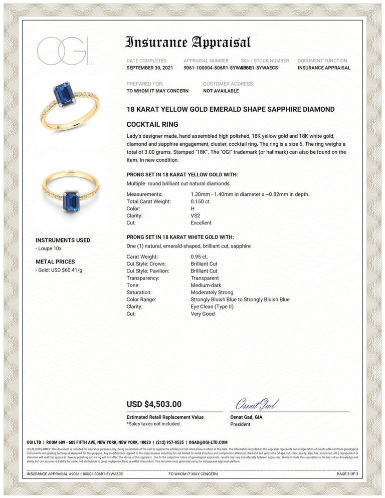 Eighteen karats yellow and white gold cocktail ring Emerald cut shape sapphire weighing 0.95 carat Sapphire hue is of royal blue color tone Nine diamonds weighing 0.15 carats Ring finger size 6 Ring shank measuring 1.8 millimeter New Ring  The ring