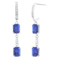 Emerald Shape Sapphire Diamond Hoop Drops Gold Earrings