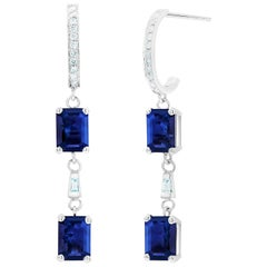 Emerald Shape Sapphire Diamond Hoop Drops Gold Earrings