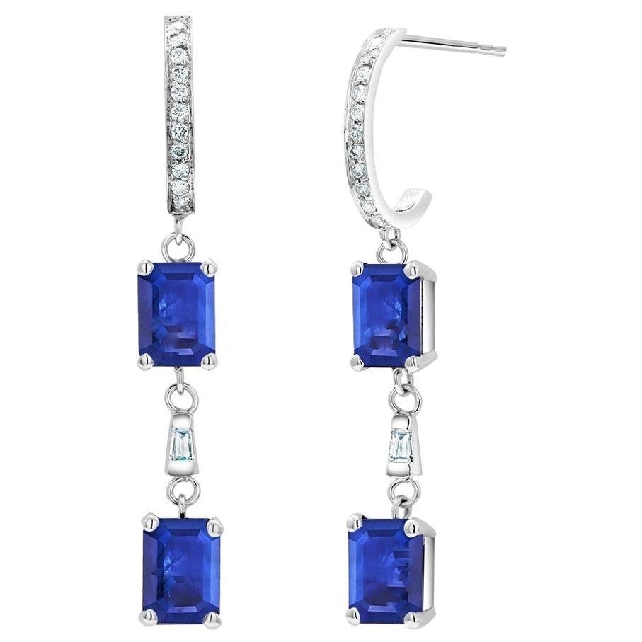 Emerald Shape Sapphire Diamond Hoop Drops Gold Earrings Weighing 4.60 Carat