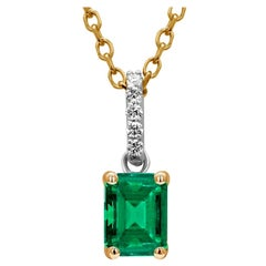 Emerald Shaped Emerald and Diamond Bail Gold Drop Pendant Necklace