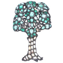 Emerald Silver Gold Tree Organic Brooch, 19th Century