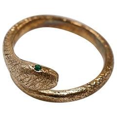 Emerald Snake Ring Cocktail Fashion Ring Bronze Animal Ring J Dauphin