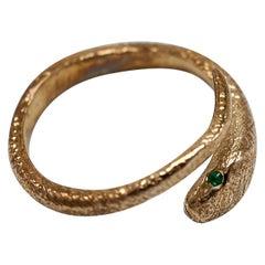 Emerald Snake Ring Bronze Adjustable J Dauphin