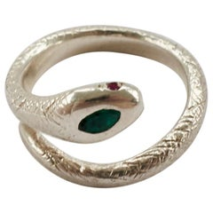 Emerald Snake Ring Ruby Eyes Silver Adjustable J Dauphin