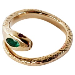 Emerald Snake Ring Ruby Victorian Style Cocktail Bronze Adjustable J Dauphin
