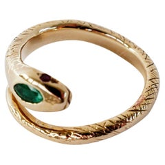 Emerald Snake Ring Cocktail Ring Gold Ruby J Dauphin