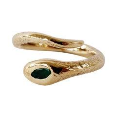 Emerald  White Diamond Snake Ring Victorian Style Bronze Adjustable J Dauphin