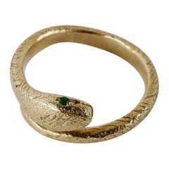 Emerald Snake Ring Gold Victorian Style Cocktail Ring Adjustable J Dauphin