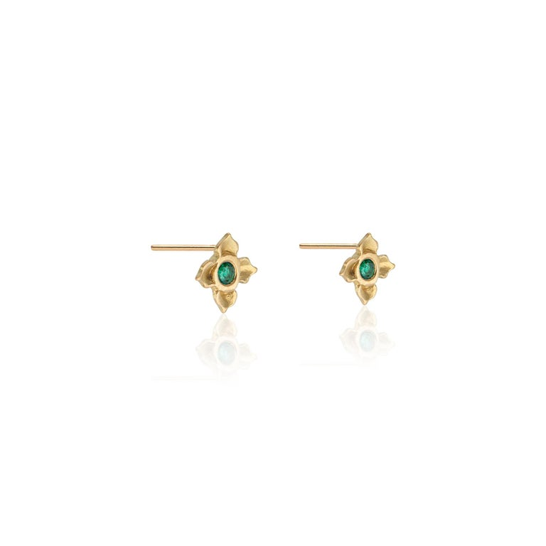 18k Yellow gold lotus flower matte finished studs set with two brilliant cut diamonds (.08 approx tcw for each stone), hand crafted by Susan Mancuso of Forge & Foundry Jewels.