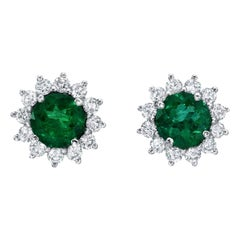 Emerald Stud Earrings Rounds 1.29 Carats Total