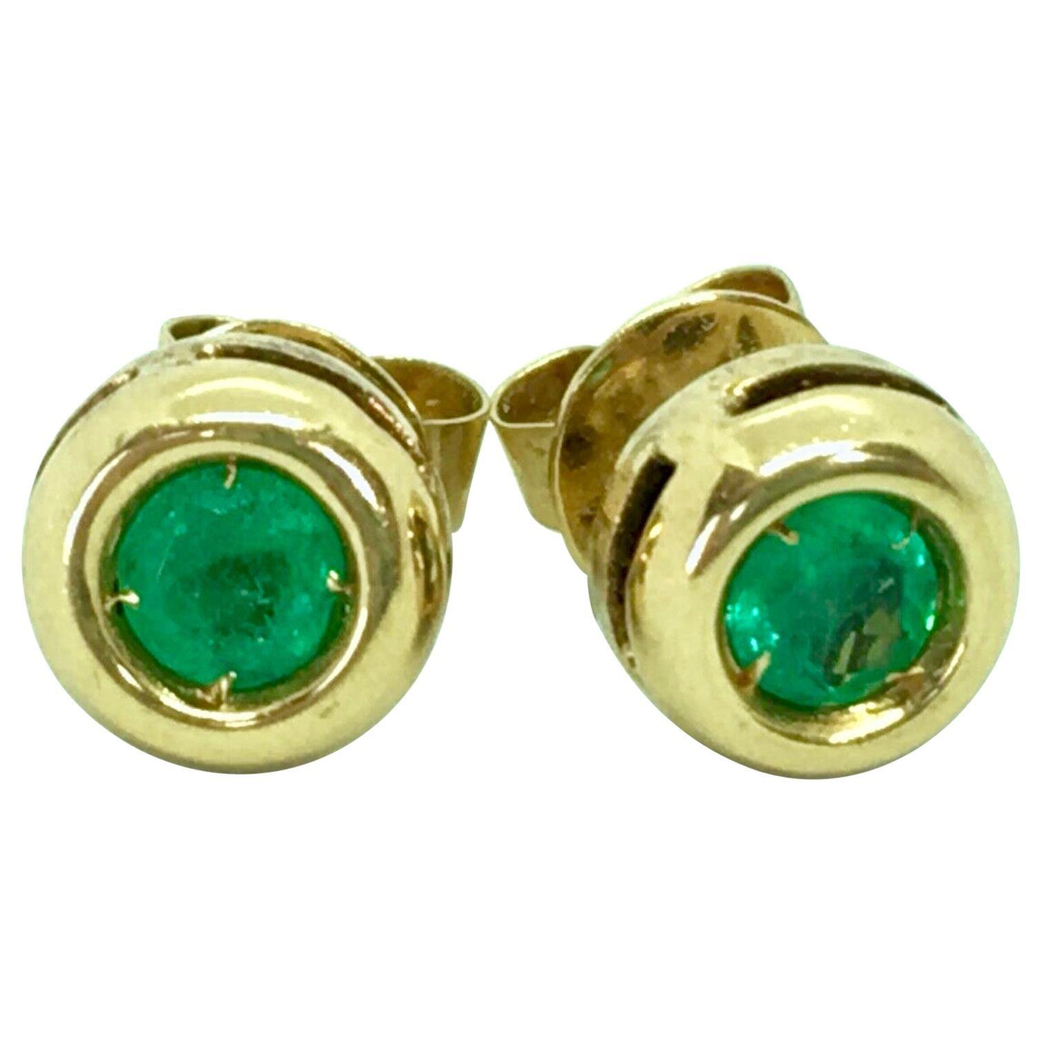 Emerald Stud Earrings Round Emerald 18 Karat Yellow Gold