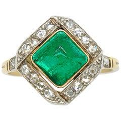 Emerald Sugarloaf and Diamond Ring, Edwardian, circa 1900s