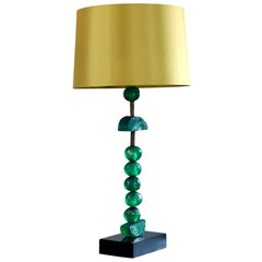 Emerald Table Lamp by Margit Wittig in Brass with Green Spheres