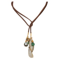 Emerald, Tahitian Pearl, Jade, Diamond and 18K Gold Leather Lariat Necklace