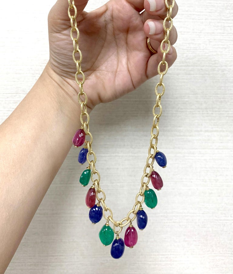STYLE #: JN0199  Emerald, Tanzanite and Rubelite Tumble Bead Frosted Chain Necklace in 18K Yelllow Gold form 'G-One' Collection  Length: 16