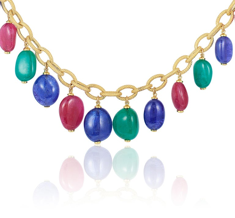 Emerald, Tanzanite and Rubelite Tumble Bead Frosted Chain Necklace In New Condition For Sale In New York, NY