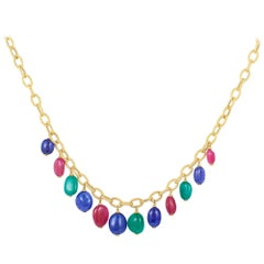 Emerald, Tanzanite and Rubelite Tumble Bead Frosted Chain Necklace