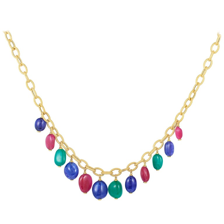 Emerald, Tanzanite and Rubelite Tumble Bead Frosted Chain Necklace For Sale