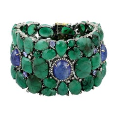 Emerald Tanzanite Diamond Bracelet