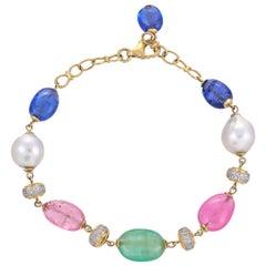 Emerald Tanzanite Pink Tourmaline Diamond 18 Karat Yellow Gold Bracelet