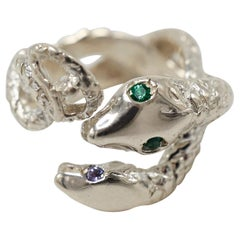 Emerald Tanzanite Snake Cocktail Statement Ring Silver Open Adjustable J Dauphin