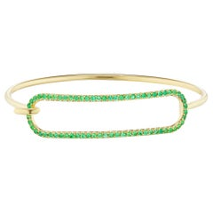 Emerald Tension Bracelet in 18 Karat Yellow Gold