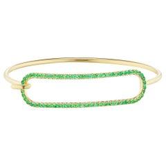 Emerald Tension Bracelet in 18 Karat Yellow Gold