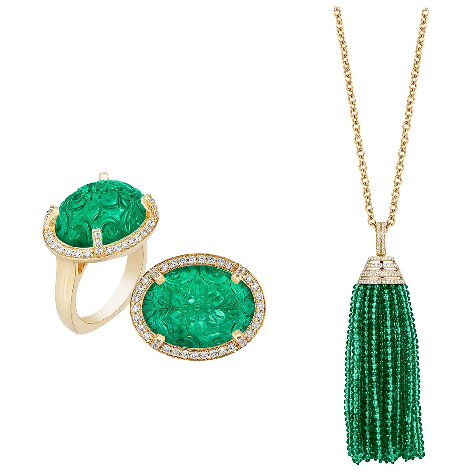 Goshwara Emerald Tumble Tassel Pendant and Carved Emerald Diamond Ring