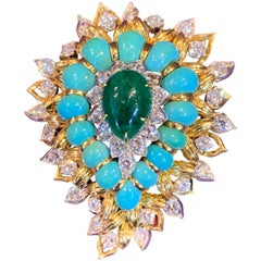 Emerald Turquoise and Diamond Paisley Pendant and Brooch