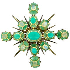 Emerald, Turquoise and Moonstone Brooch or Pendant by Tony Duquette