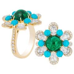Goshwara Emerald, Turquoise and Rose Cut Diamond Ring