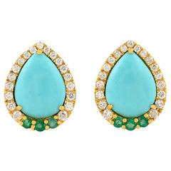 Emerald Turquoise Diamond 18 Karat Gold Stud Earrings