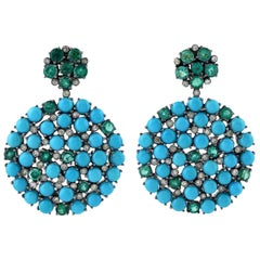 Emerald Turquoise Diamond Earrings