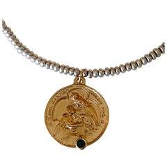 Emerald Virgin Mary Bronze Grey Silver Sweet Water Pearl Bead Necklace J Dauphin