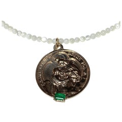 Emerald Virgin Mary Bronze White Bead Necklace J Dauphin